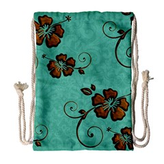 Chocolate Background Floral Pattern Drawstring Bag (large)