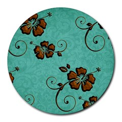 Chocolate Background Floral Pattern Round Mousepads