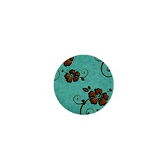 Chocolate Background Floral Pattern 1  Mini Magnets by Nexatart