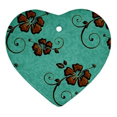 Chocolate Background Floral Pattern Ornament (heart)