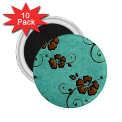 Chocolate Background Floral Pattern 2 25  Magnets (10 Pack)  by Nexatart