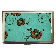 Chocolate Background Floral Pattern Cigarette Money Cases by Nexatart