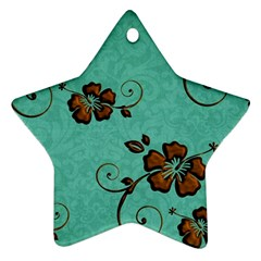 Chocolate Background Floral Pattern Star Ornament (two Sides)