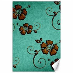 Chocolate Background Floral Pattern Canvas 12  X 18