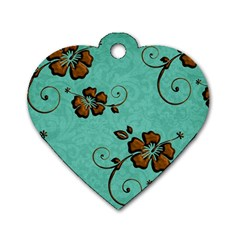 Chocolate Background Floral Pattern Dog Tag Heart (two Sides)