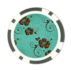 Chocolate Background Floral Pattern Poker Chip Card Guard (10 Pack)
