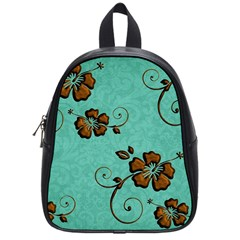 Chocolate Background Floral Pattern School Bag (small) by Nexatart