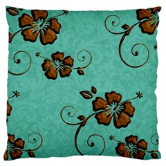 Chocolate Background Floral Pattern Large Cushion Case (one Side)
