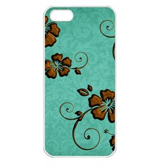 Chocolate Background Floral Pattern Apple Iphone 5 Seamless Case (white)