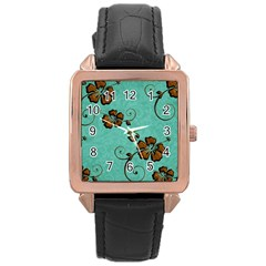 Chocolate Background Floral Pattern Rose Gold Leather Watch  by Nexatart