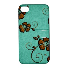 Chocolate Background Floral Pattern Apple Iphone 4/4s Hardshell Case With Stand by Nexatart