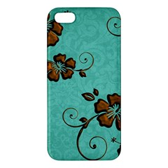 Chocolate Background Floral Pattern Apple Iphone 5 Premium Hardshell Case by Nexatart
