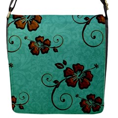 Chocolate Background Floral Pattern Flap Messenger Bag (s)