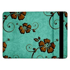 Chocolate Background Floral Pattern Samsung Galaxy Tab Pro 12 2  Flip Case by Nexatart