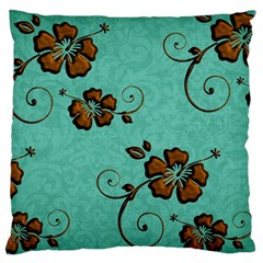 Chocolate Background Floral Pattern Large Flano Cushion Case (two Sides)