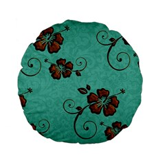 Chocolate Background Floral Pattern Standard 15  Premium Flano Round Cushions by Nexatart
