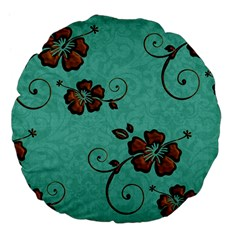 Chocolate Background Floral Pattern Large 18  Premium Flano Round Cushions