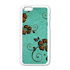 Chocolate Background Floral Pattern Apple Iphone 6/6s White Enamel Case by Nexatart