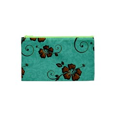 Chocolate Background Floral Pattern Cosmetic Bag (xs) by Nexatart