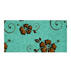 Chocolate Background Floral Pattern Satin Wrap