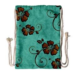 Chocolate Background Floral Pattern Drawstring Bag (large) by Nexatart