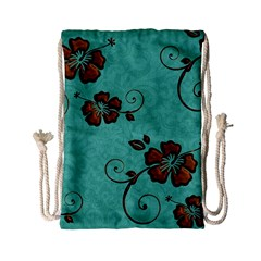 Chocolate Background Floral Pattern Drawstring Bag (small)