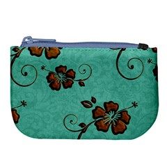 Chocolate Background Floral Pattern Large Coin Purse