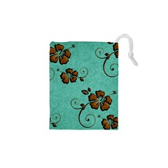 Chocolate Background Floral Pattern Drawstring Pouches (xs)