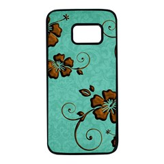 Chocolate Background Floral Pattern Samsung Galaxy S7 Black Seamless Case
