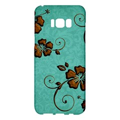 Chocolate Background Floral Pattern Samsung Galaxy S8 Plus Hardshell Case  by Nexatart