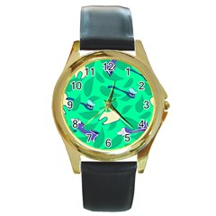 Pattern Seamless Background Desktop Round Gold Metal Watch