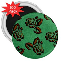Chocolate Background Floral Pattern 3  Magnets (100 Pack)