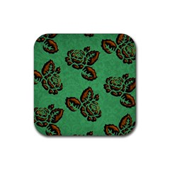 Chocolate Background Floral Pattern Rubber Square Coaster (4 Pack)