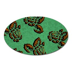 Chocolate Background Floral Pattern Oval Magnet
