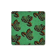 Chocolate Background Floral Pattern Square Magnet