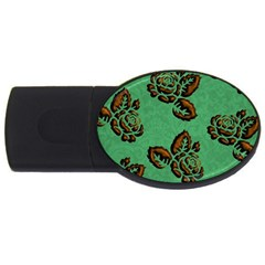 Chocolate Background Floral Pattern Usb Flash Drive Oval (2 Gb)