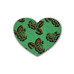 Chocolate Background Floral Pattern Rubber Coaster (heart)