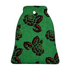 Chocolate Background Floral Pattern Bell Ornament (two Sides)