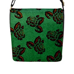 Chocolate Background Floral Pattern Flap Messenger Bag (l)