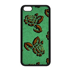 Chocolate Background Floral Pattern Apple Iphone 5c Seamless Case (black) by Nexatart
