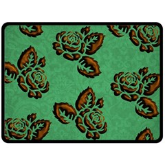 Chocolate Background Floral Pattern Double Sided Fleece Blanket (large)  by Nexatart
