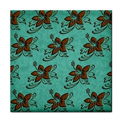 Chocolate Background Floral Pattern Tile Coasters