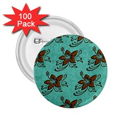 Chocolate Background Floral Pattern 2 25  Buttons (100 Pack)