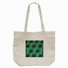 Chocolate Background Floral Pattern Tote Bag (cream)
