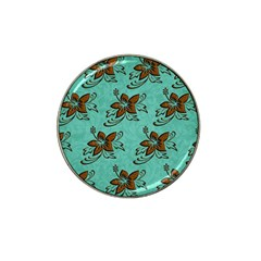 Chocolate Background Floral Pattern Hat Clip Ball Marker (4 Pack) by Nexatart