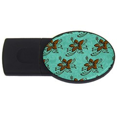 Chocolate Background Floral Pattern Usb Flash Drive Oval (4 Gb)