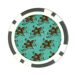 Chocolate Background Floral Pattern Poker Chip Card Guard