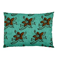 Chocolate Background Floral Pattern Pillow Case by Nexatart