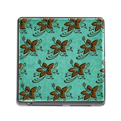 Chocolate Background Floral Pattern Memory Card Reader (square)