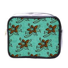 Chocolate Background Floral Pattern Mini Toiletries Bags by Nexatart